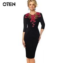 OTEN Womens Stylish Elegant Applique embroidery Crochet V neck Work Office Bodycon Female 3/4 Sleeve Sheath Party Dress formal