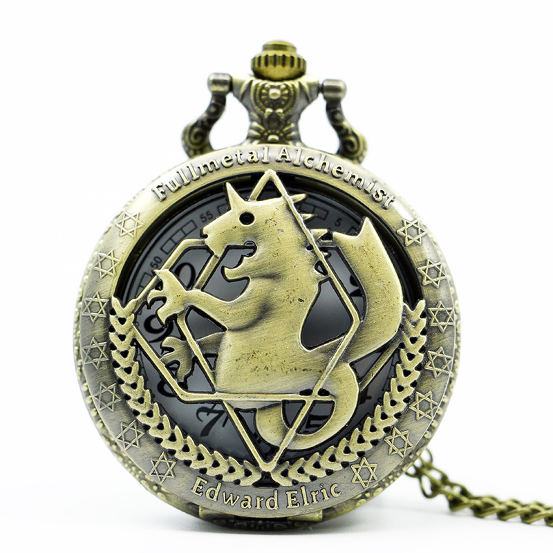 Full Metal Alchemist Pocket Watch Necklace Chain Men's Quartz Watch Stainless steel Hollow Women Gifts antique fullmetal alchemist full metal case bronze pocket watch with chian necklace christmas