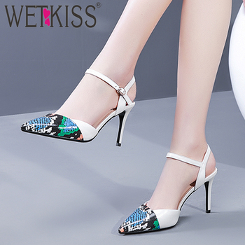 WETKISS Print Cow Leather Sandals Women Pointed Toe Footwear Party Shoes Female High Heels Shoes Woman Summer 2019 New White