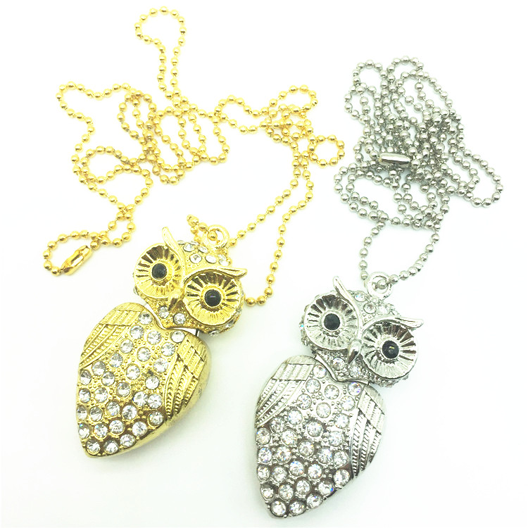 USB 3.0 Flash Drive Metal Diamond Owl Pendrive Nighthawk Pen Drive 8GB 16GB 32GB 64GB USB Stick Gift USB Key Chain Necklace