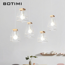 BOTIMI Simple Design LED Pendant Lights For Dining Wooden Kitchen Lampadario Vintage Metal Hanging Lamp Restaurant Luminaria nordic retro pendant lights for dining kitchen lampadario vintage metal hanging lamp indoor luminaria light fixtures