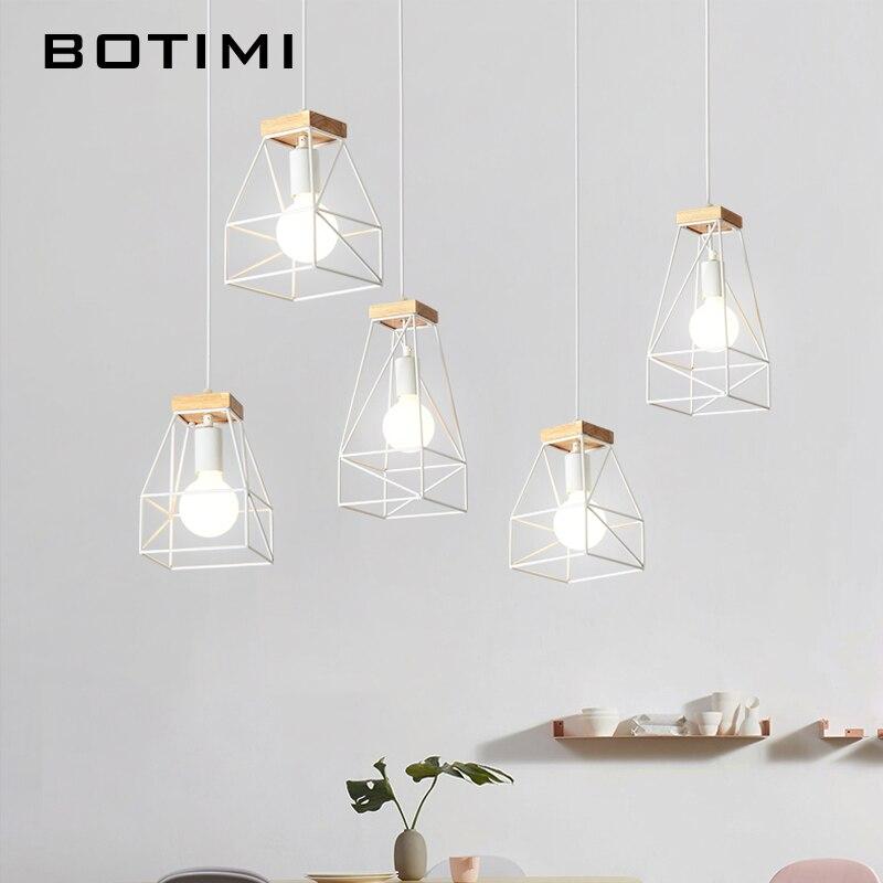 BOTIMI diseño Simple LED luces colgantes para Comedor Cocina de madera  Lampadario Vintage Metal lámpara colgante restaurante Luminaria