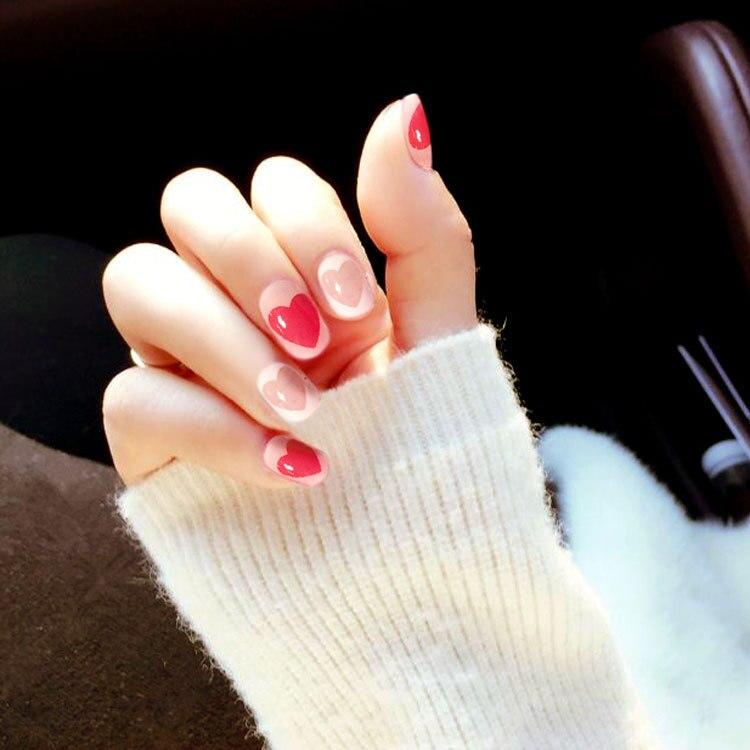 24pcs Bride Fake Nails Heart Shaped False Nail Press On