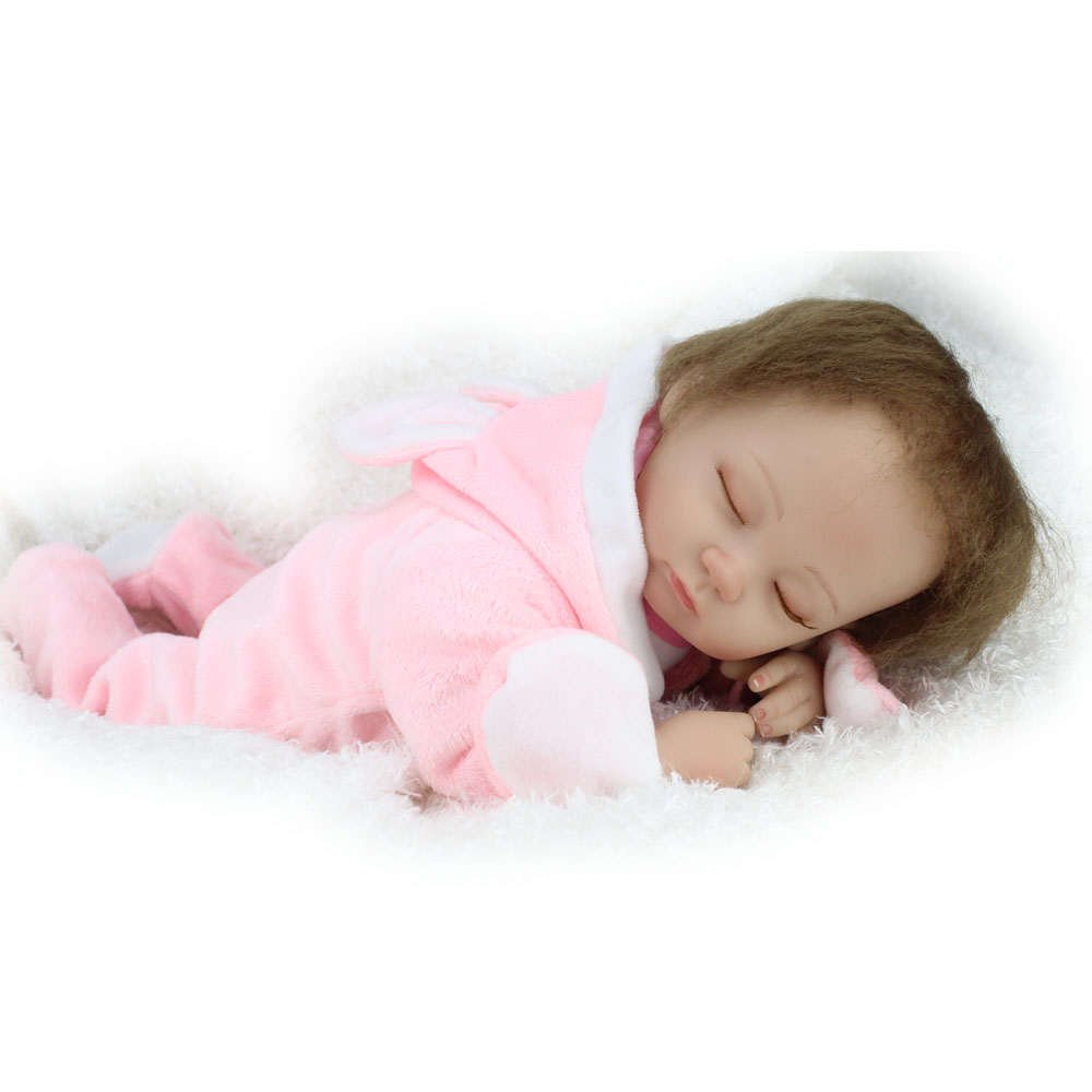 16 inch NPKDOLL Reborn Silicone Baby Doll Handmad Lifelike Sleeping Baby Toys for Kids Hobbies Pink Clothes Little Baby 40cm pjcmg handmad 100