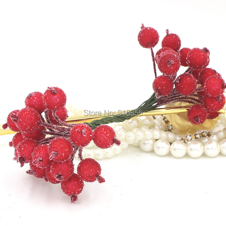 Free shipping 100pcs Red 12mm double heads High simulation glass pomegranate strong stem glass fruit stamen flower stamen