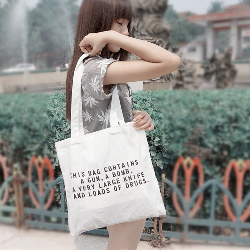 Fashion Women Girls Street Shopping Bag Tote Cool English Leter Design Canvas Handbag Shoulder Tote Bags Korean Handbags