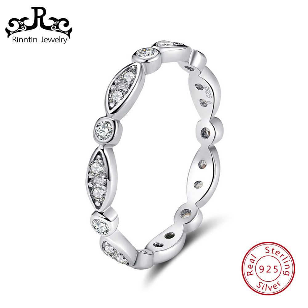 Риннтин подлинное серебро 925 пробы для женщин обручальное кольцо зубец установка прозрачный AAA циркон вечные кольца для женщин ювелирные изделия TSR71