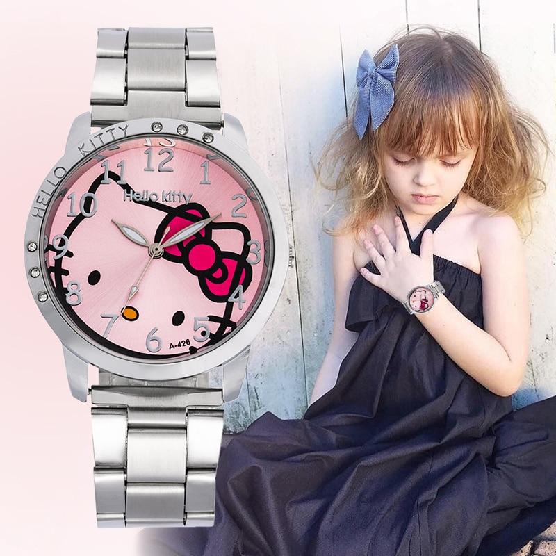 Girls Steel Women Watch Fashion Design Stainless Steel Kids Rhinestones Ladies Wrist Watch Quartz Women Girls Clock Reloj Mujer