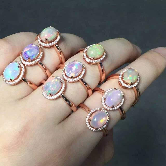 Natural Transparent opal Ring Natural gemstone Ring S925 sterling silver trendy Elegant round for women's party fine Jewelry