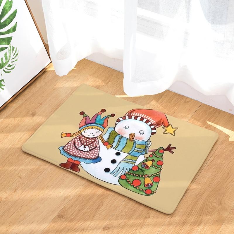 Christmas Gifts Decoration Christmas carpet without sliding kitchen carpet, home living room carpet 40x60cm 50x80cm