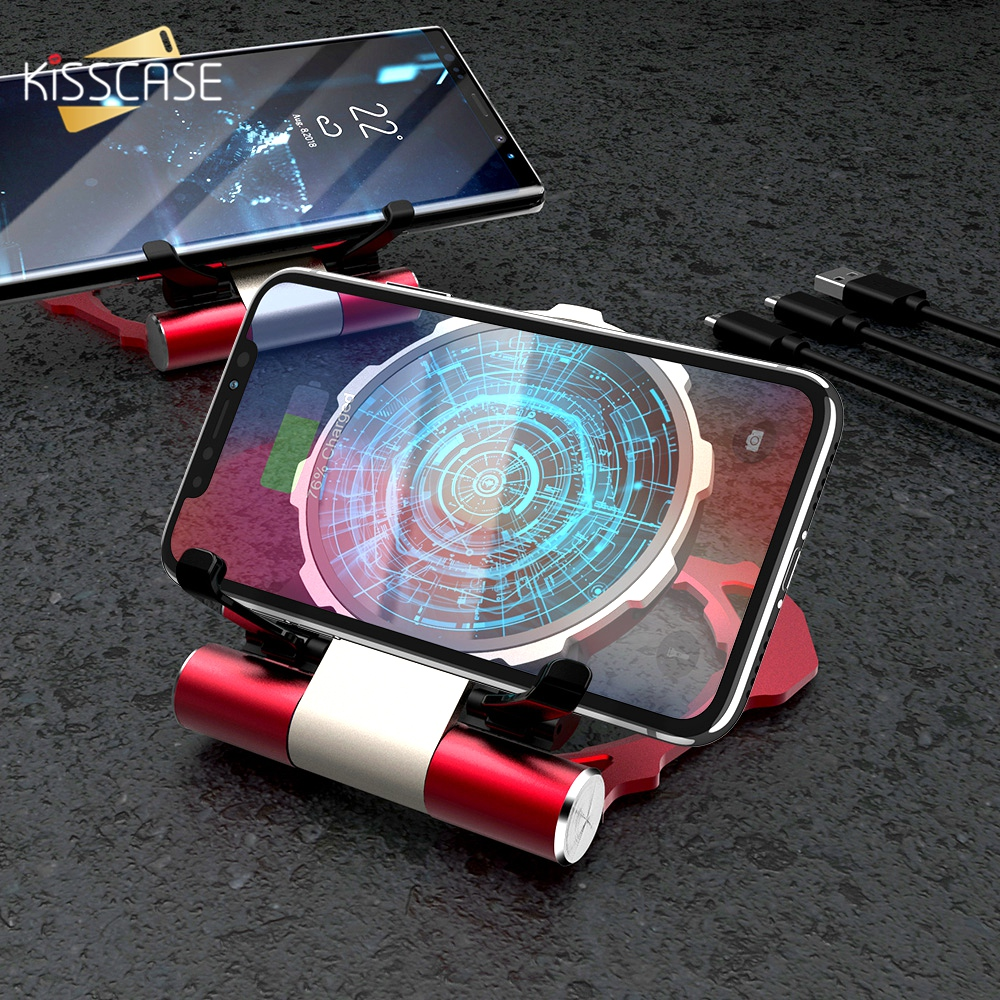 KISSCASE 5W Wireless Charger For iPhone XS Max XR Holder 10W Wireless Charger For Samsung S9 Iron Man Power Fast Charging Holder