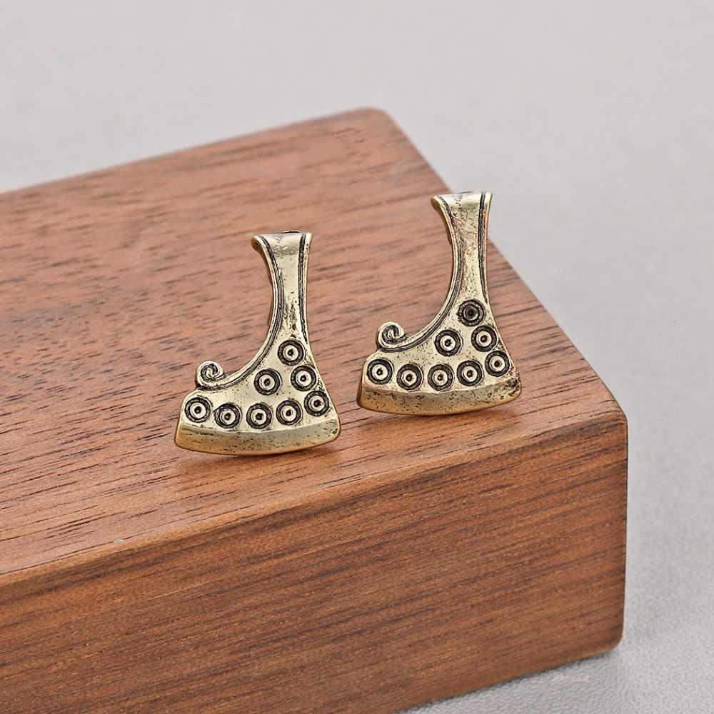QIMING Sekira Viking/серебряные женские серьги ручной работы, подвеска в виде топора, Перун, амулет, мужские ювелирные изделия, славянская большая серьга в готическом стиле, подарок