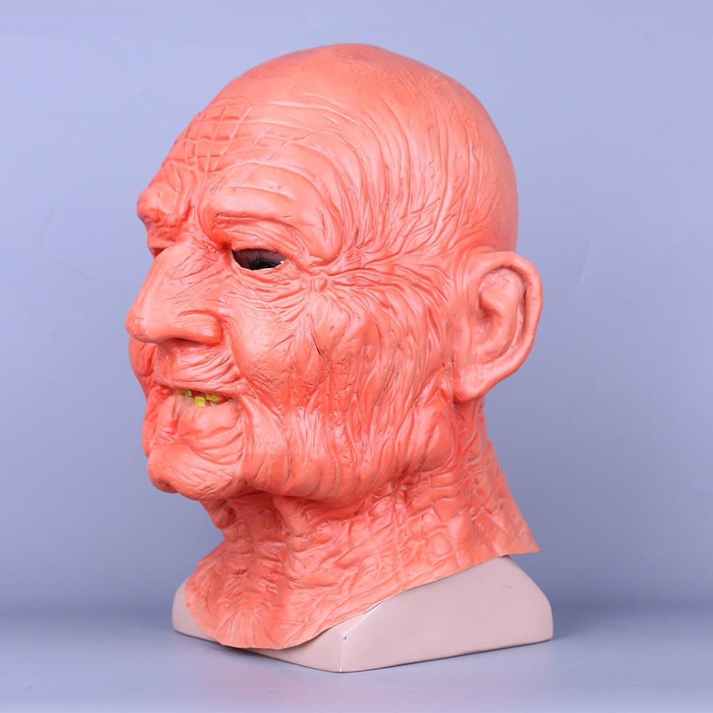 Creepy Old Man Mask With Hair Masquerade Old Man Mask Halloween Mask Props New (5)