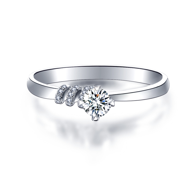18k Gold And White Diamond Ring Genuine 1 Carat Effect Platinum Rose Wedding Marriage