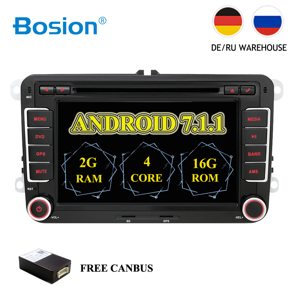 HD Android 7.1 DVD de Voiture VW Navigation GPS Wifi + Bluetooth + Radio Autoradio 2 Din Pour Volkswagen GOLF 4 5 6 POLO PASSAT JETTA TIGUAN