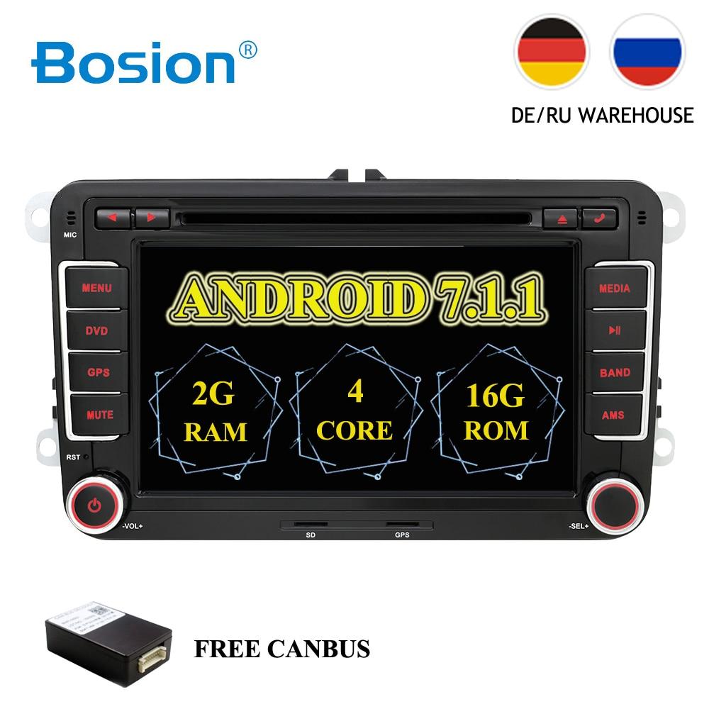 HD Android 7,1 DVD del coche de VW navegación GPS Wifi + Bluetooth + Radio Autoradio 2 Din para Volkswagen GOLF 4 5 6 POLO PASSAT JETTA TIGUAN