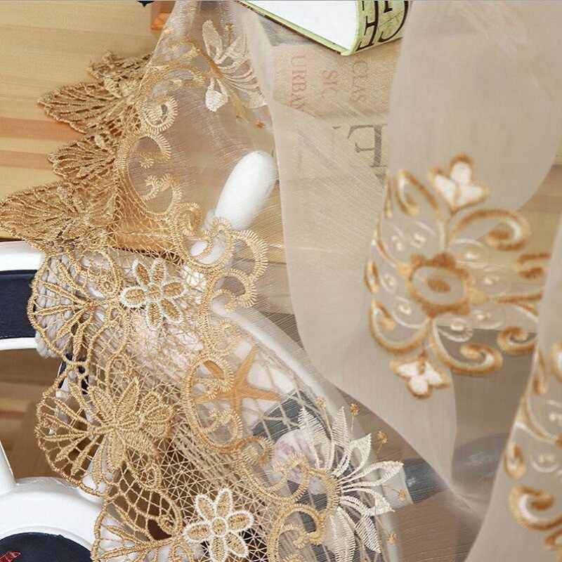 الفاخرة المطرزة شير الفوال الستائر نافذة الستائر كورتينا لباب غرفة المعيشة الذهب الدانتيل الستائر تول النوافذ