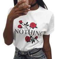 2017 Tshirts Women Nothing Letter Print Rose T Shirt Summer Casual Short Sleeve T Shirt Female