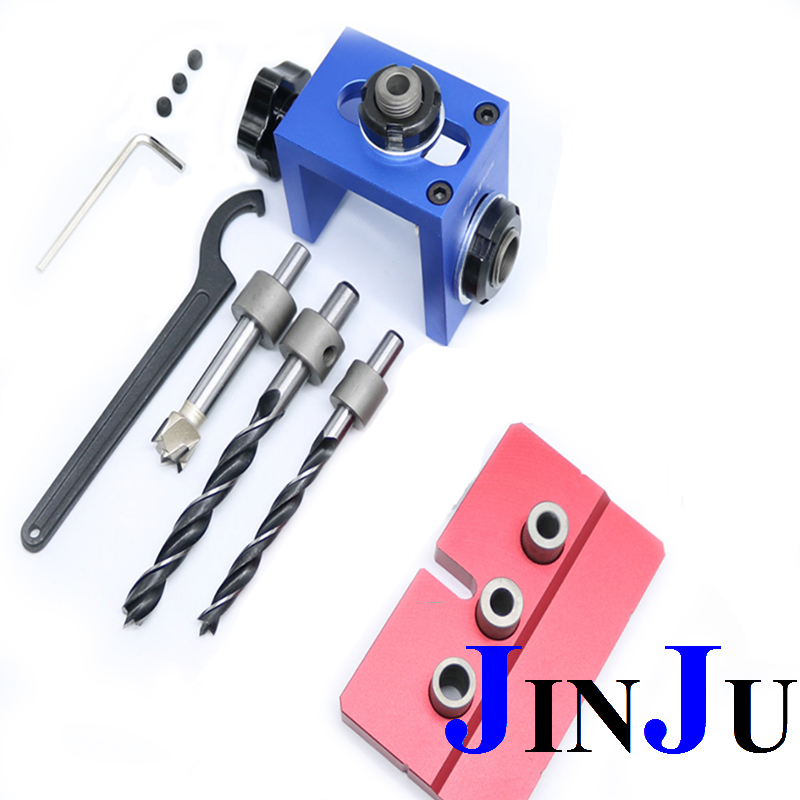 Woodworking Tool Pocket Hole Locate Punching Jig Kit With Drilling Bit Bushing Tools Set new woodworking pocket hole locate punch jig kit step drilling bit wood tools set free shipping
