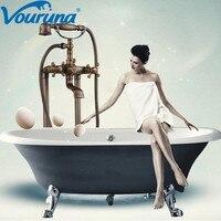 VOURUNA Роскошные античная латунь Напольные ванна кран Бесплатная установлен для ванной наполнительный Смеситель Краны