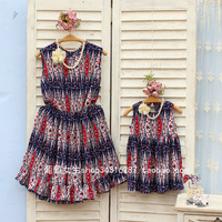 Free Shipping Summer family clothes mother daughter kids dresses mom baby printing Chiffon Summer Discount Woman Female dresses