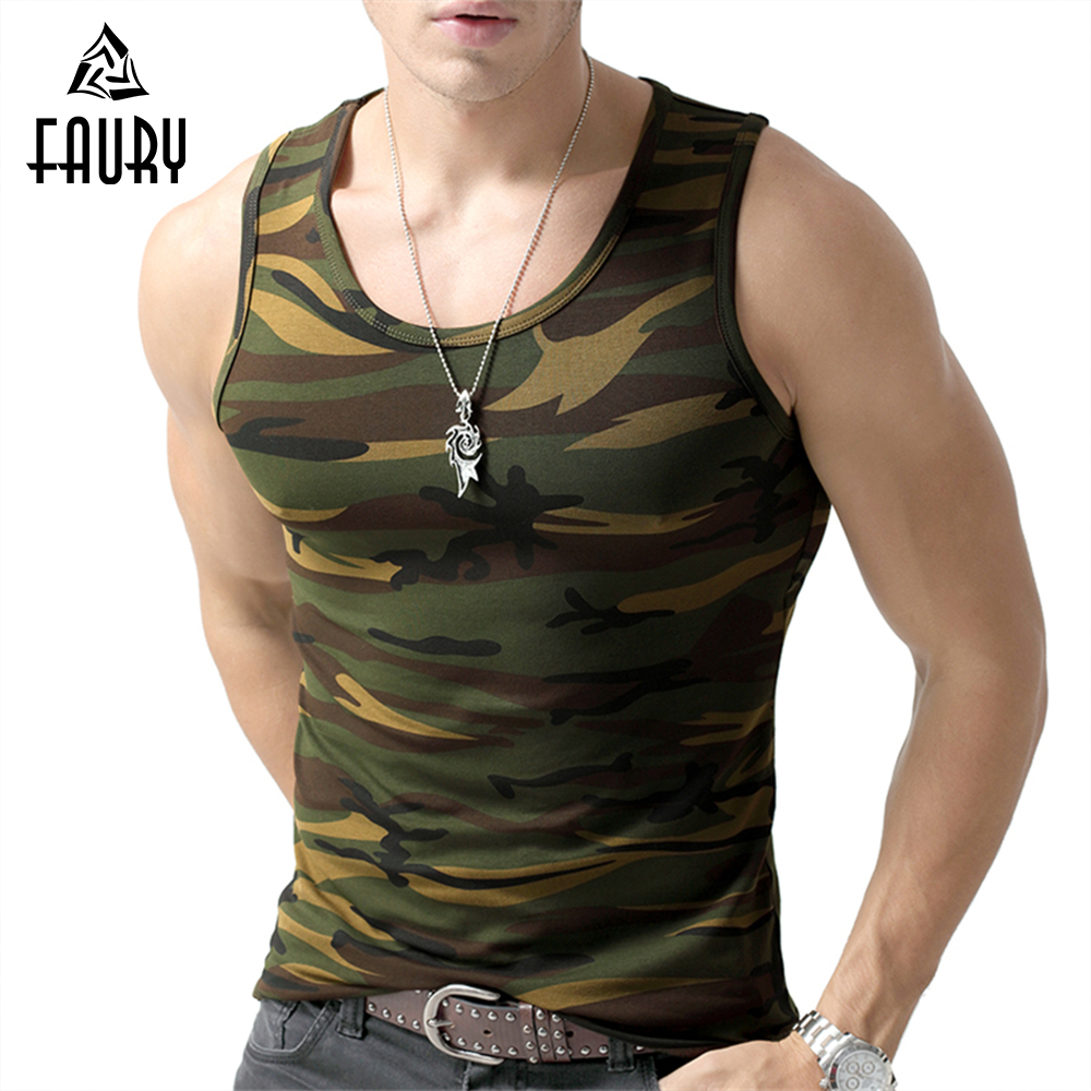Camouflage Uniforms Army Military Uniform Tactical Forces Shirts Men's Fitness Sleeveless Clothing Cotton Dry Fit Elastic Tops