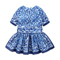2016 New summer&autumn girls costume  fashion chinese style print dresses for girls Three quarter kids girls clothes