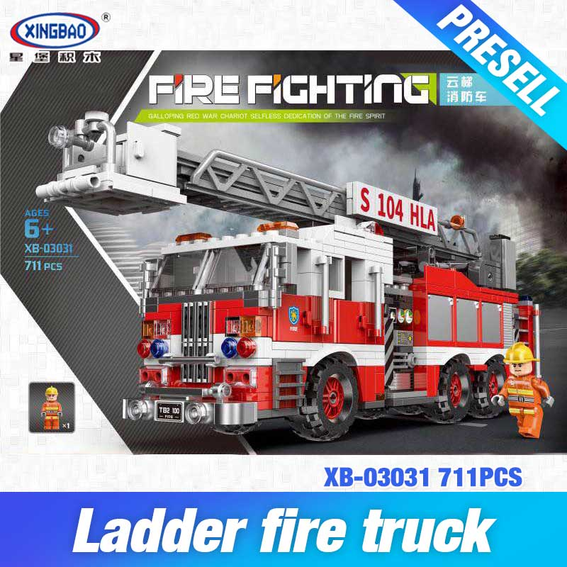 XINGBAO 03031 City Series The Aerial Ladder Fire Truck Set Building Blocks Bricks Kids Toys Car Model Birthday Christmas Gifts цена