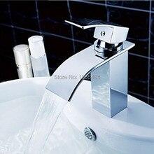 Новое поступление хром латунь водопад краны кран на бортике мотыга и холодной смесители torneira banheiro 1124C