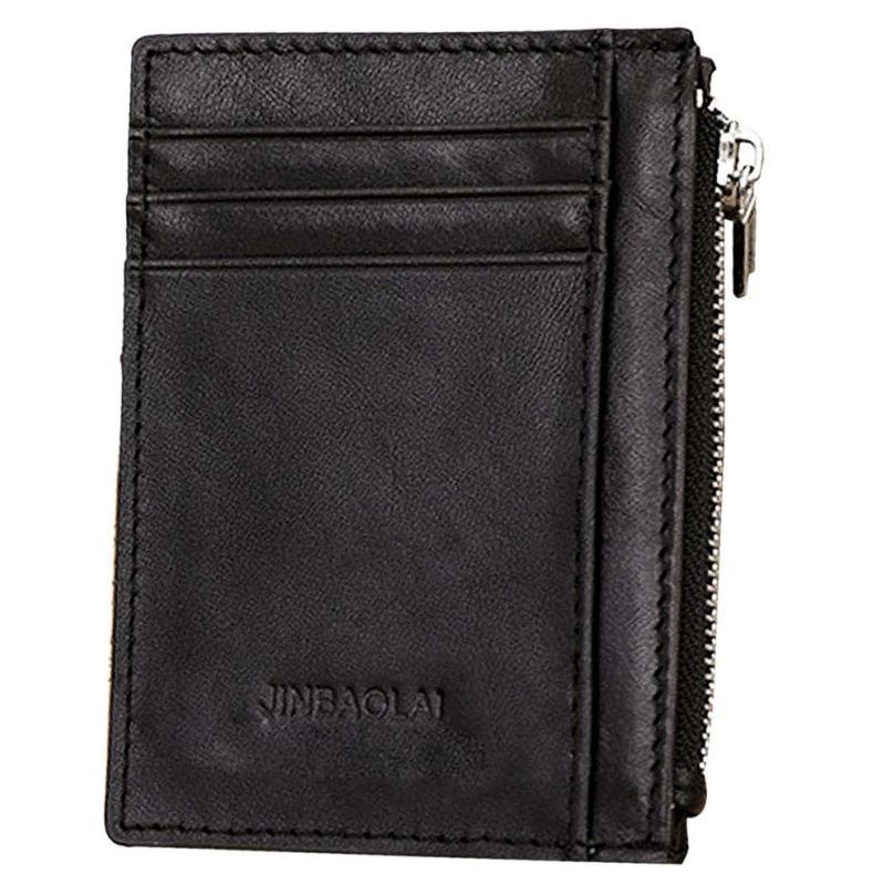 mens wallet 2017 Luxury Retro Zipper Mens Leather Wallet Credit ID Card Purse cartera hombre carteira masculina Dropshipping