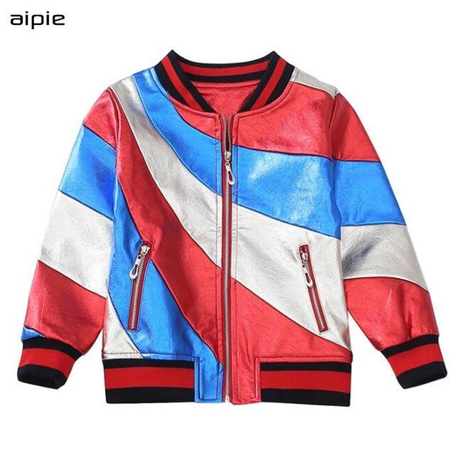 Aipie детские куртки для девочек новые моды дизайн, узор кожа Бейсбол Пальто для будущих мам любимой девушки верхняя одежда