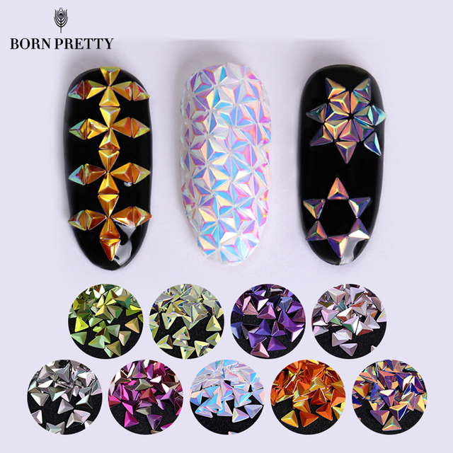 Unicorn AB Color Nail Sequins Chameleon Triangle Star Iridescent Flakies Tips Manicure 3D Nail Art Decoration