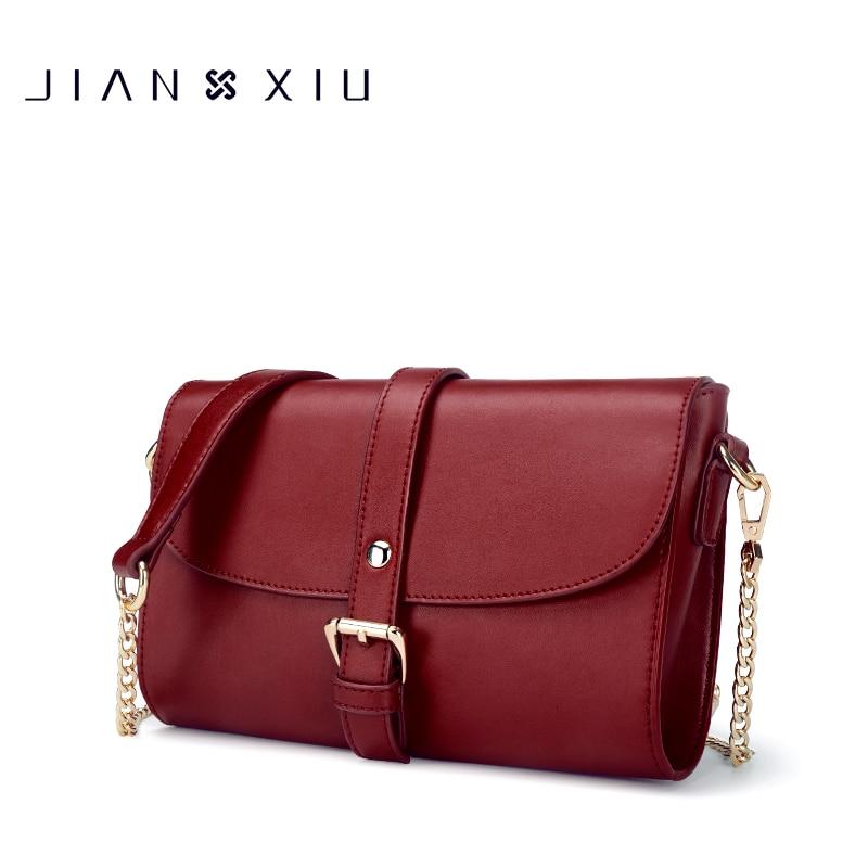 JIANXIU Brand Women Messenger Bags Split Leather Shoulder Crossbody Bag Small Chain Bolsas Feminina Sliod Color