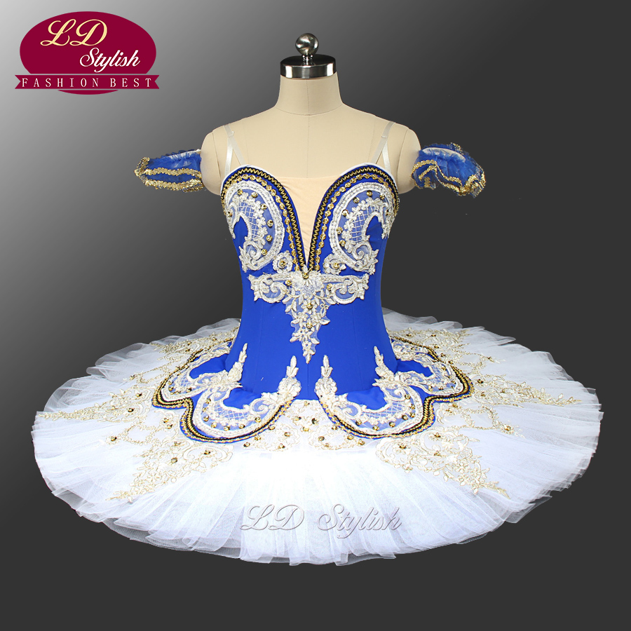 Adult Blue Bird Ballet Professional Stage Tutu Blue And White Classical Ballet Performance Costume Customized LD0028
