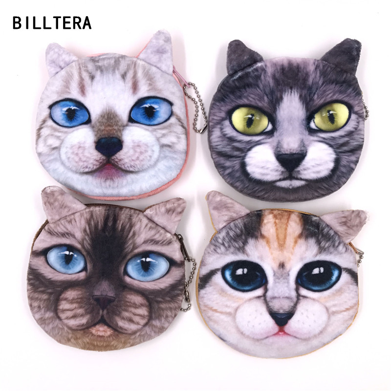 BILLTERA Brand Lovely Cat Mini Purse Lady Small Wallet Women Plush Animal Coin Purses For Kids 2017 New Zipper Coins Pouch new brand mini cute coin purses cheap casual pu leather purse for coins children wallet girls small pouch women bags cb0033