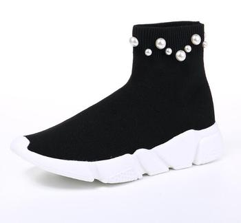 newest women ankle boots Thick bottom Slip-on Stretch boots white pearl rivet ladies shoes 2018 autumn winter women boots flats