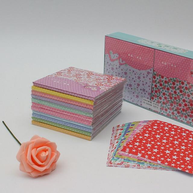 Craft Art Paper Kids Cute DIY Square Floral Flower Pattern Origami Paper Folded Handmade Paper Craft Decor Models Toys