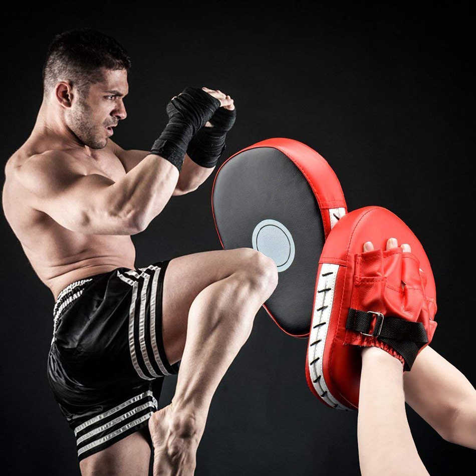 Rexchi 2 Pcs Tinju Sarung Tangan Pad Punch Target Tas Pria MMA Pu Karate Muay Thai Gratis Melawan Sanda Latihan anak-anak Dewasa Peralatan