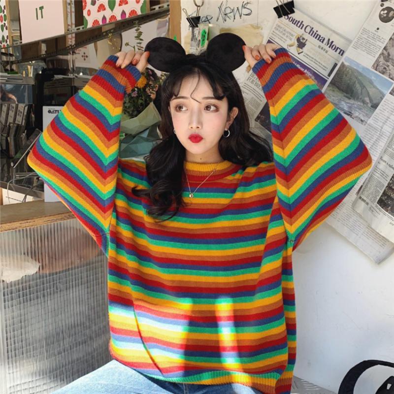 Retro Rainbow Colorblock Round Neck Pullover
