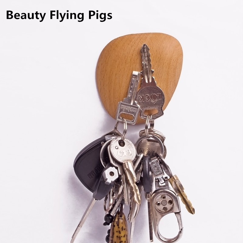 Wood high quality solid wood key Super magnetic force walnut key storage device wall hook refrigerator stickers Home Decoration
