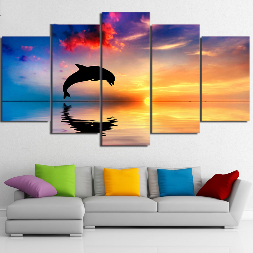 Tableau Wall Art HD Printed Pictures Canvas 5 Panel Dolphin Sunset Landscape Home Decoration Modern Paintings Modular Posters tableau pour cuisine en verre