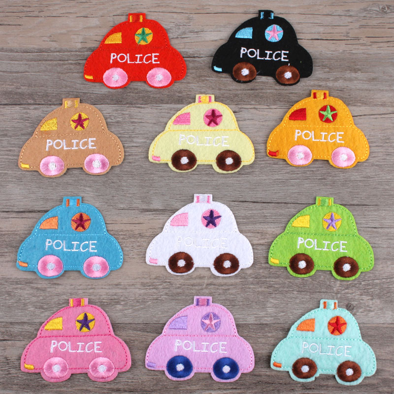 Clothes, patches, stickers, men and women, fashion, handmade cloth, adorable candy, color candy, police car