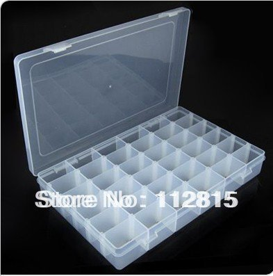 2Pcs plastic White36-checks Jewelry Beads Display&Storage Boxes free shipping