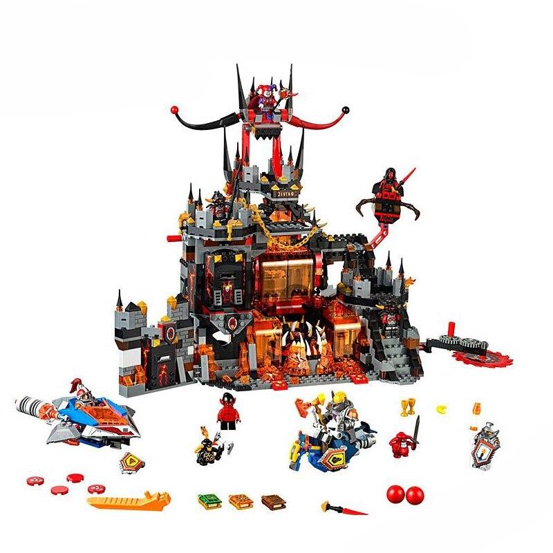 Compatible with Lego 70323 nexoe knights Bela 10521 1237Pcs Jestro Volcano Lair Figure building blocks bricks toys for children