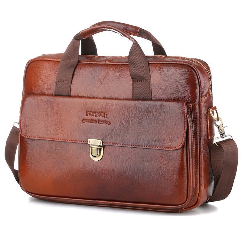 New Style Men's Handbag Buckle Shoulder Bag Soft Cow Leather Briefcase