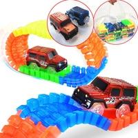 600 Tracks & 2 Cars Gift Packs Handtas Gloeiende racing track set Glow in dark Led auto speelgoed Glow Ras Spoor Auto speelgoed voor kinderen