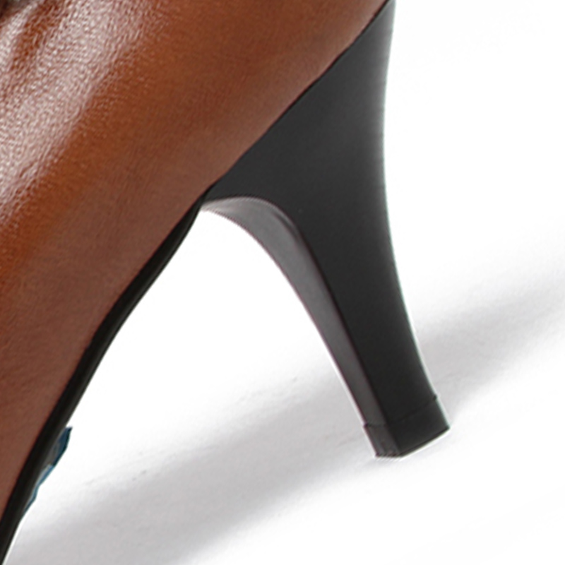 Cuir À Pompes Taille Chaussures Mode Talons marron Réel Talon Nightcherry Femmes Noir Mince De 39 34 Ruches Pointu En Hauts Boucle Dames Robe 5gIUw7nq