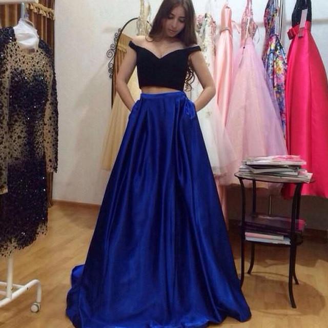 Elegant Two Pieces Lace Arab Wedding Dress Sheath 2017: Simple Blue Two Pieces Cocktail Dresses 2017 Elegant Black