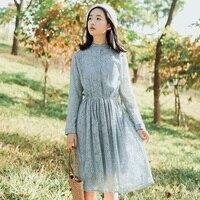 Wiosna Jesień Koronki Vestidos Femininos 2018 Nowy Japoński Mori Dziewczyna Słodka Sukienka Kobiety Z Długim Rękawem Koronkowe Sukienki Damskie Ubrania