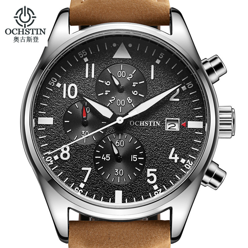 Relogio Masculino OCHSTIN Klocka Män Business Chronograph Date Luminous Armbandsur Mens Luxury Brand Leather Quartz Watch